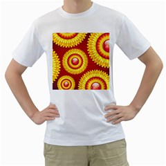 Floral Abstract Background Texture Men s T Shirt (white)