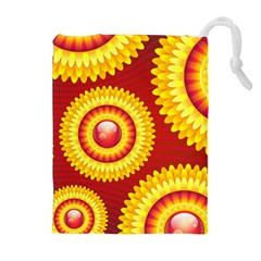 Floral Abstract Background Texture Drawstring Pouches (extra Large)