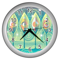 Background Landscape Surreal Wall Clocks (silver)  by Nexatart