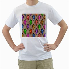 Abstract Background Colorful Leaves Men s T Shirt (white) (two Sided)