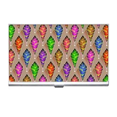 Abstract Background Colorful Leaves Business Card Holders