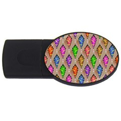Abstract Background Colorful Leaves Usb Flash Drive Oval (2 Gb)