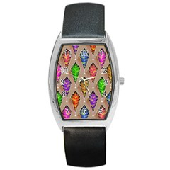 Abstract Background Colorful Leaves Barrel Style Metal Watch