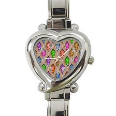 Abstract Background Colorful Leaves Heart Italian Charm Watch