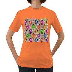 Abstract Background Colorful Leaves Women s Dark T Shirt