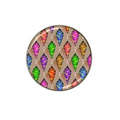 Abstract Background Colorful Leaves Hat Clip Ball Marker (4 Pack)