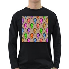 Abstract Background Colorful Leaves Long Sleeve Dark T Shirts