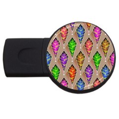 Abstract Background Colorful Leaves Usb Flash Drive Round (4 Gb)