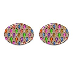 Abstract Background Colorful Leaves Cufflinks (oval)