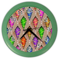 Abstract Background Colorful Leaves Color Wall Clocks