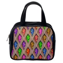 Abstract Background Colorful Leaves Classic Handbags (one Side)