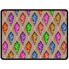Abstract Background Colorful Leaves Fleece Blanket (large)
