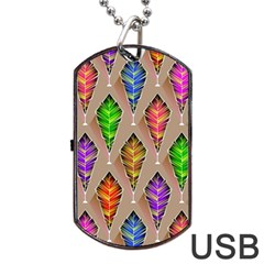 Abstract Background Colorful Leaves Dog Tag Usb Flash (one Side) by Nexatart