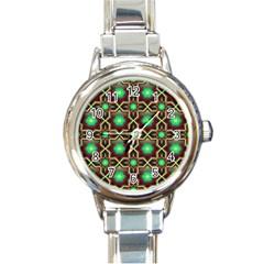 Pattern Background Bright Brown Round Italian Charm Watch