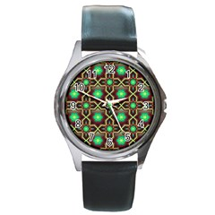 Pattern Background Bright Brown Round Metal Watch