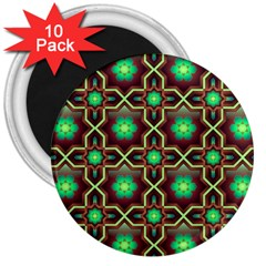 Pattern Background Bright Brown 3  Magnets (10 Pack)