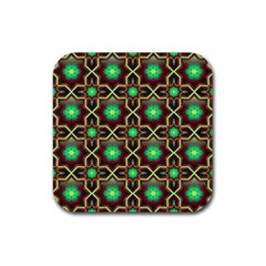 Pattern Background Bright Brown Rubber Coaster (square)