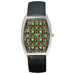 Pattern Background Bright Brown Barrel Style Metal Watch