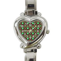 Pattern Background Bright Brown Heart Italian Charm Watch