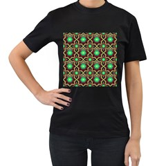 Pattern Background Bright Brown Women s T Shirt (black) (two Sided)