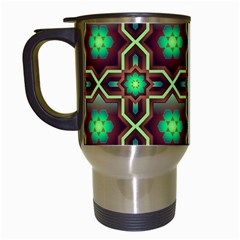 Pattern Background Bright Brown Travel Mugs (white)