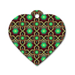 Pattern Background Bright Brown Dog Tag Heart (two Sides)