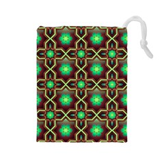 Pattern Background Bright Brown Drawstring Pouches (large)