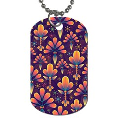 Abstract Background Floral Pattern Dog Tag (two Sides)