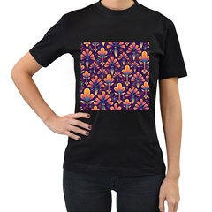 Abstract Background Floral Pattern Women s T Shirt (black) (two Sided)