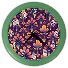 Abstract Background Floral Pattern Color Wall Clocks