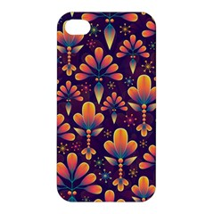 Abstract Background Floral Pattern Apple Iphone 4/4s Premium Hardshell Case