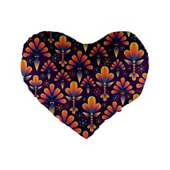 Abstract Background Floral Pattern Standard 16  Premium Heart Shape Cushions