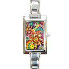 Colorful Abstract Background Colorful Rectangle Italian Charm Watch