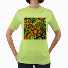 Colorful Abstract Background Colorful Women s Green T Shirt
