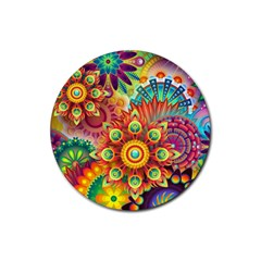 Colorful Abstract Background Colorful Rubber Coaster (round)
