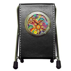 Colorful Abstract Background Colorful Pen Holder Desk Clocks