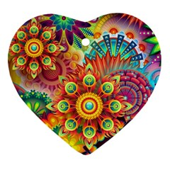 Colorful Abstract Background Colorful Heart Ornament (two Sides)