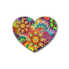 Colorful Abstract Background Colorful Rubber Coaster (heart)  by Nexatart