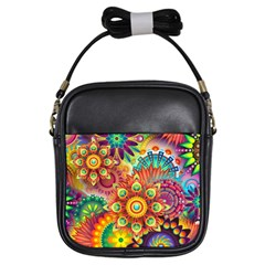 Colorful Abstract Background Colorful Girls Sling Bags
