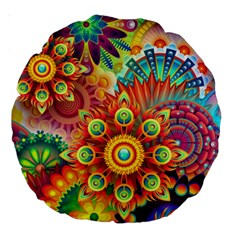 Colorful Abstract Background Colorful Large 18  Premium Round Cushions