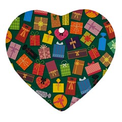 Presents Gifts Background Colorful Heart Ornament (two Sides)