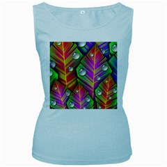 Abstract Background Colorful Leaves Women s Baby Blue Tank Top by Nexatart