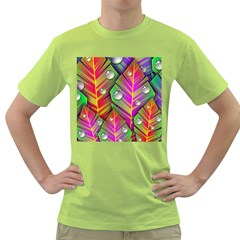 Abstract Background Colorful Leaves Green T Shirt