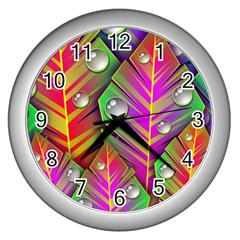 Abstract Background Colorful Leaves Wall Clocks (silver)