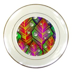 Abstract Background Colorful Leaves Porcelain Plates