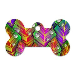 Abstract Background Colorful Leaves Dog Tag Bone (one Side)
