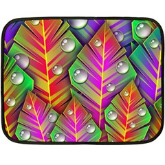 Abstract Background Colorful Leaves Double Sided Fleece Blanket (mini)