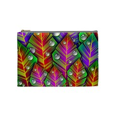 Abstract Background Colorful Leaves Cosmetic Bag (medium)  by Nexatart