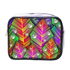 Abstract Background Colorful Leaves Mini Toiletries Bags