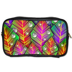 Abstract Background Colorful Leaves Toiletries Bags by Nexatart